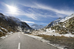 Road to Grand Saint Bernard pass in winter Royalty Free Stock Photo