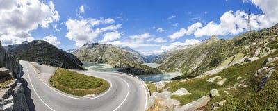 Road to Grimsel pass in Switzerland Stock Photo