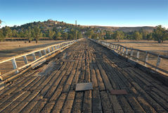 Road to gundagai. From the folk song the famous wooden bridge or road to gundagai stock photo
