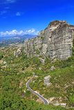 Road to hanging monastery at Meteora, Greece Royalty Free Stock Image