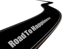 Road To Happiness. A 3d Road In Black With White Text Road To Happiness Royalty Free Stock Images