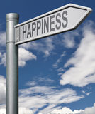 Road to happiness. Search and find a happy life joyful living fulfillment, arrow with clipping path Stock Image
