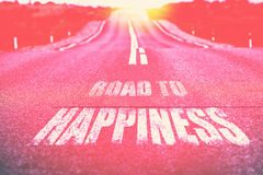 Road to Happiness written on road Stock Images