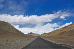 Road to heaven. Scenic road in Himalayas mountains of Ladakh India Stock Images