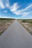 Road to Heaven. Road to a sky with clouds in Formentera, Spain Royalty Free Stock Images