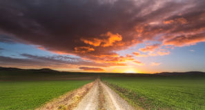 Road to heaven. Sunrise at winter Royalty Free Stock Photo