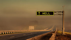 Road to Hell. Concept. Lanscape of highway Royalty Free Stock Photography