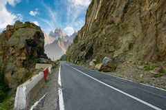 Road in to the high mountains royalty free stock photography