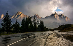 Road to High Tatra Mountain Ridge in stormy weather Royalty Free Stock Photo