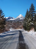 Road to High Tatras in winter Royalty Free Stock Photos