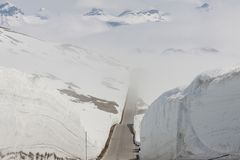 Road to highest pass in Norway. Stock Photos
