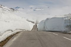 Road to highest pass in Norway. Royalty Free Stock Image