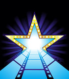 Road to Hollywood. Fame star at the end of film road vector illustration