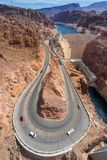 Road to Hoover dam, border of Arizona and Nevada, USA royalty free stock image