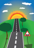 Road to the horizon. With trees and road sign vector illustration