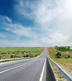 Road to horizon and cloudy sky Stock Photography