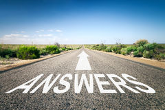 Road to horizon. An image of a road to the horizon with text answers Royalty Free Stock Image