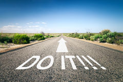 Road to horizon. An image of a road to the horizon with text do it Stock Photos