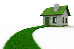 Road to house from grass. Isolated 3D Stock Images