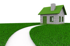 Road to house on grass. Isolated 3D Stock Images
