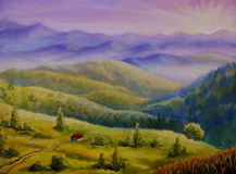 The road to the house in a hilly area in the mountains. Original oil painting of The road to the house in a hilly area in the mountains on canvas. Modern Stock Images