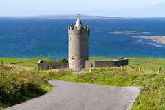 Road to idyllic castle stock photos