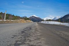 Road to infinity. Perspective of a Road at the Argentina's Tierra del Fuego,  ushuaia Stock Photo