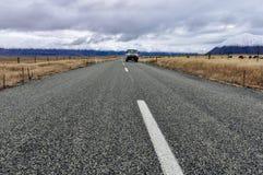 Road to infinity near Lake Ohau, New Zealand Stock Photos