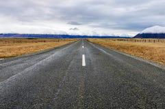 Road to infinity near Lake Ohau, New Zealand Royalty Free Stock Image