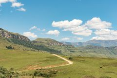 Road to Injisuthi in Giants Castle section, Maloti Drakensberg P. The road to Injisuthi in the Giants Castle section of the Maloti Drakensberg Park in the Royalty Free Stock Photography