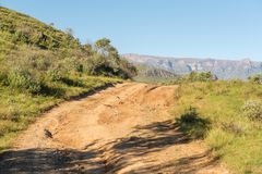Road to Injisuthi in the Kwazulu-Natal Drakensberg. The road to Injisuthi in the Kwazulu-Natal Drakensberg Royalty Free Stock Photography