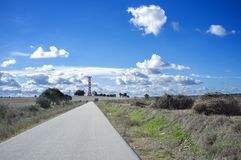 Road to Irrigation water tank, Spain Royalty Free Stock Image