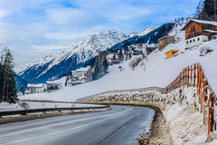 Road to Ischgl. Austria is land with beautiful winter landscape, Ischgl city Stock Photo