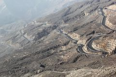 Road to Jais Mountains, Jebel Jais, Ras Al Khaimah, United Arab Emirates. The beautiful zig zag road to the destination scenics of Jais Mountain. vacation tour Royalty Free Stock Photos