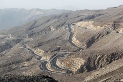 Road to Jais Mountains, Jebel Jais, Ras Al Khaimah, United Arab Emirates. The beautiful zig zag road to the destination scenics of Jais Mountain. vacation tour Stock Image