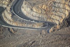 Road to Jais Mountains, Jebel Jais, Ras Al Khaimah, United Arab Emirates. The beautiful zig zag road to the destination scenics of Jais Mountain. vacation tour Stock Images