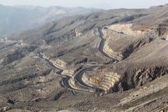 Road to Jais Mountains, Jebel Jais, Ras Al Khaimah, United Arab Emirates. The beautiful zig zag road to the destination scenics of Jais Mountain. vacation tour Stock Photography