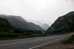 The road to Kabardino-Balkaria among the mighty Caucasus mountains royalty free stock photos