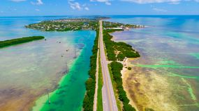 Road to Key West over seas and islands, Florida keys, USA. The Seven Mile Bridge is a bridge in the Florida Keys, in Monroe County, Florida, United States Stock Image
