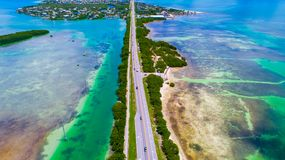 Road to Key West over seas and islands, Florida keys, USA. The Seven Mile Bridge is a bridge in the Florida Keys, in Monroe County, Florida, United States Royalty Free Stock Photos