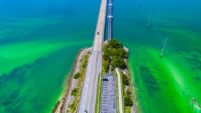 Road to Key West over seas and islands, Florida keys, USA. The Seven Mile Bridge is a bridge in the Florida Keys, in Monroe County, Florida, United States Royalty Free Stock Photo