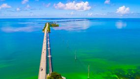 Road to Key West over seas and islands, Florida keys, USA. The Seven Mile Bridge is a bridge in the Florida Keys, in Monroe County, Florida, United States Stock Photos