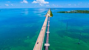 Road to Key West over seas and islands, Florida keys, USA. The Seven Mile Bridge is a bridge in the Florida Keys, in Monroe County, Florida, United States Royalty Free Stock Images