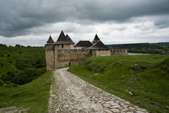 Road to the Khotyn castle. And river near the castle royalty free stock photos