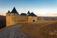 The road to the khotyn fortress at sunset Stock Photos