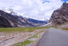 A road to Ladakh snow peaks Stock Photos
