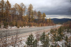 The road to lake Baikal. The area of the highway in the Irkutsk region between the villages of Bandi and Elantsy in the forest area in October Royalty Free Stock Photos