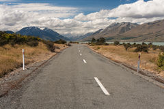 Road to lake Ohau in Southern Alps Royalty Free Stock Photo