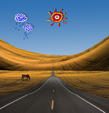 Road in to landscape with cartoon clouds sun Royalty Free Stock Photo