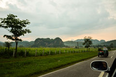 Road to las Vinales. Vinales road. On the left, Vinales valley royalty free stock photo